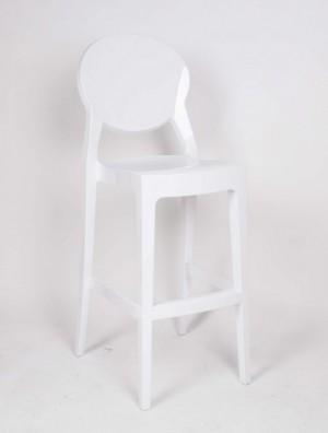 Barstuhl weiß, Barhocker weiß Kunststoff, Barstuhl weiß und schwarz, Sitzhöhe 74 cm
