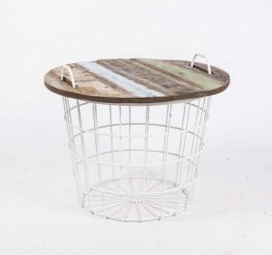 Couchtisch weiß Metall, Beistelltisch Metall weiß Industriedesign, Durchmesser 60 cm