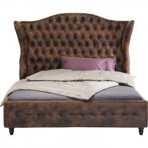 Bett braun gepolstert Barock, Bett Landhaus braun, Maße 200 x 180 cm