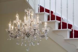 Klassischer Kronleuchter aus Glas, 5 flammig, Farbe chrom transparent