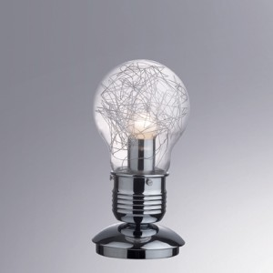 Tischleuchte  Metall chrom, Glas transparent Aludraht