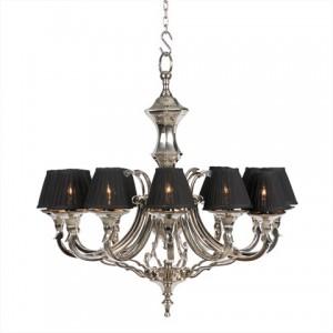 Kronleuchter mit zwölf Armen, vernickelt mit schwarzen Lampenschirmen, 75 cm Durchmesser