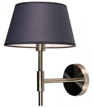 Wandlampe Nickel-satiniert mit eine Lampenschirm Farbe Grau, Wandlampe mit Lampenschirm
