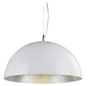 Moderne Pendelleuchte Kuppel,  in Farbe Weiß-Silber, Durchmesser 120 cm