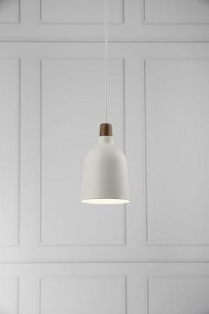 Moderne Pendelleuchte, Hängeleuchte, Farbe weiß, braun, Ø 14 cm