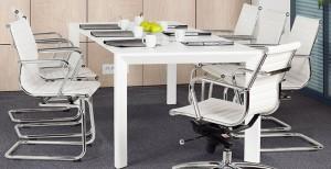 Besprechungsstuhl weiß, Konferenzstuhl weiß, Freischwinger, Farbe chrom-weiß