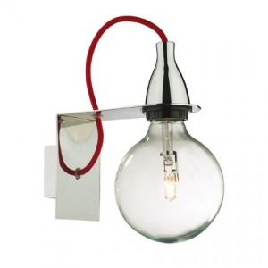 Wandleuchte Metall chrom/rot Halogenlampe