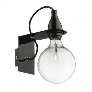 Wandleuchte Metall schwarz, Halogenlampe, Kabel