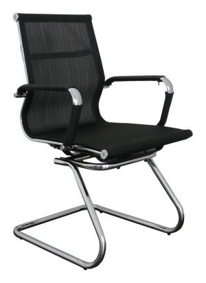 Besprechungsstuhl, Konferenzstuhl, Freischwinger, Farbe chrom-schwarz