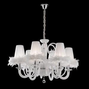 Kronleuchter weiß mit Lampenschirmen, Hängeleuchte Lampenschirme weiß, Kronleuchter Kristallglas