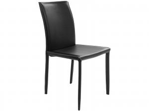 Stuhl aus Lederfaserstoff / Echtleder, Farbe schwarz