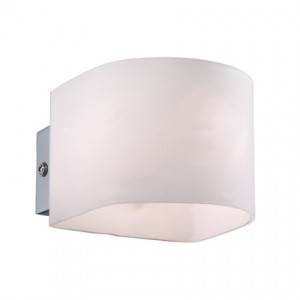 Wandleuchte Metall chrom Glas transparent Stoff weiß