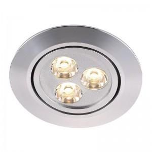 LED Moderne Deckeneinbauleuchte, Farbe aluminium, Ø 8,5 cm