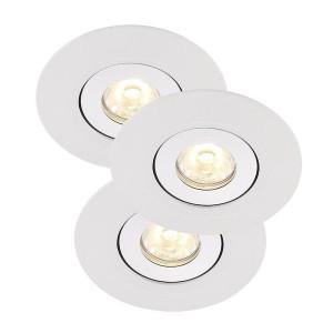 LED Moderne Deckeneinbauleuchte, Farbe weiß, Ø 6 cm, 3-er SET