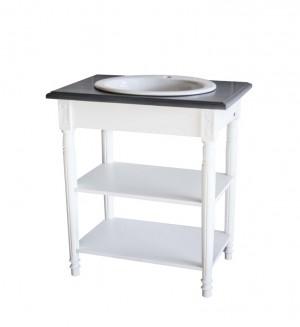 Waschtisch weiß-grau im Landhausstil, Badmöbel weiß