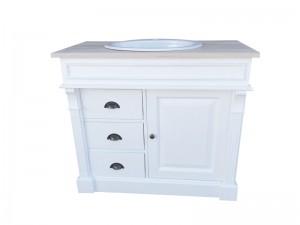 Waschtisch weiß-braun Massivholz, Waschtisch Eiche Tischplatte Landhausstil, Breite 103 cm