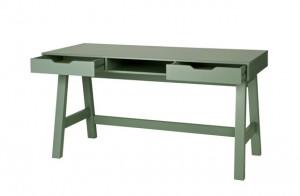 Tisch grün Holz, Schreibtisch grün, Schreibtisch Massivholz grün
