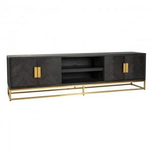Fernsehschrank Gold schwarz, TV Schrank schwarz, Lowboard schwarz Gold, Breite 220 cm