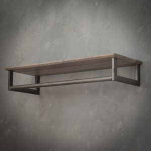 Wandgarderobe grau mit Hutablage, Garderobe Holz-Metall, Garderobe grau Landhaus, Breite 80 cm