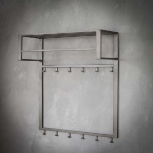 Wandgarderobe grau, Metall Garderobe mit Hacken, Garderobe grau Industriedesign, Breite 80 cm