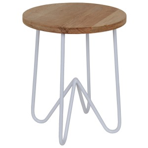 Hocker weiß Industriedesign Metall-Holz, Hocker Metall weiß, Höhe 46 cm