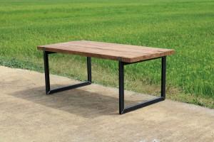 Teakholz Esstisch, Tisch Teak Industriedesign, Esstisch Teak Metall Gestell, Breite 220 cm