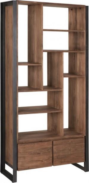 Regal Holz Industriedesign, Bücherregal Metall Holz, Holzregal Metallrahmen,  Breite 90 cm