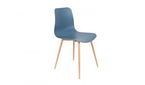 Stuhl blau, Stuhlbeine natur (Metall)