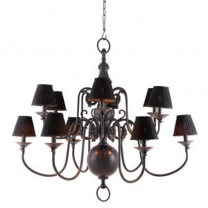 Kronleuchter 12 flammig mit Lampenschirmen, Hängelüster  braun, Kronleuchter braun Lampenschirmen schwarz, Durchmesser 115 cm