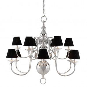 Kronleuchter verchromt 12 flammig mit weißen Lampenschirmen, Hängelüster silber, Kronleuchter mit Lampenschirmen, Durchmesser 115 cm
