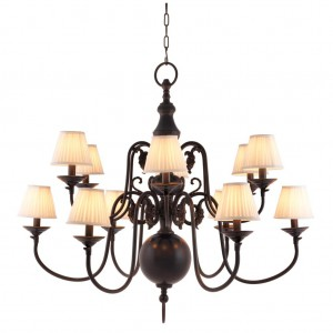 Kronleuchter 12 flammig mit Lampenschirmen, Hängelüster  braun, Kronleuchter braun Lampenschirmen weiß, Durchmesser 115 cm