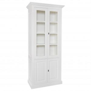 Geschirrschrank weiß,  Vitrine weiß, Wohnzimmerschrank im Landhausstil, Breite 100 cm