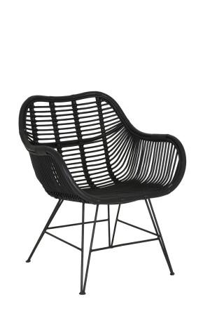 Sessel Rattan schwarz, Stuhl Metall Gestell schwarz, Stuhl-Sessel Rattan