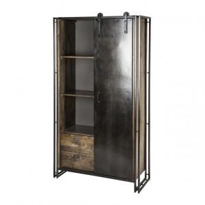 Schrank schwarz Holz-Metall, Aktenschrank Industriedesign, Regal schwarz Industrie, Breite 105 cm