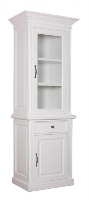 Vitrine weiß Landhaus, Vitrinenschrank weiß, Buffetschrank weiß Landhausstil, Breite 80 cm
