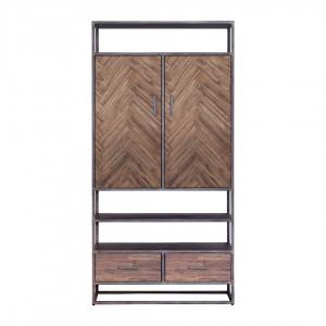 Schrank braun Metall, Wohnzimmerschrank braun Holz, Breite 100 cm