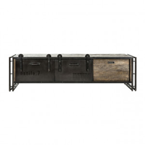 TV Schrank schwarz Holz-Metall, Lowboard Industriedesign, TV Regal schwarz Industrie, Breite 160 cm
