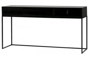 Konsole schwarz Holz Metall, Wandkonsole schwarz, Wandtisch Holz Metall Gestell, Breite 140 cm
