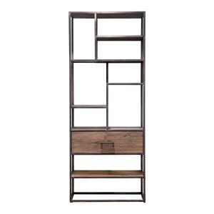 Regal braun Metall, Bücherregal braun Holz, Metall-Regal Industriedesign, Breite 80 cm