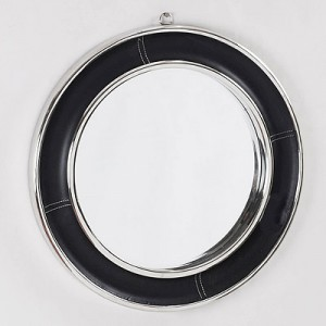Spiegel rund Leder-Metall, Wandspiegel rund schwarz-Silber