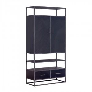 Schrank schwarz Metall, Wohnzimmerschrank schwarz Holz, Breite 100 cm