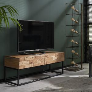 TV Schrank mit zwei Schubladen, Fernsehschrank Industriedesign, Breite 120 cm