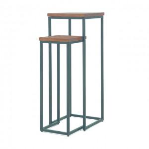 Säule Gestell Metall, Beistelltisch Tischplatte Holz, 2er Set Dekosäule Holz Metall, Höhe 103 cm