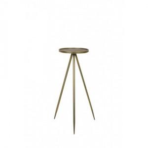 Dekosäule Gold Metall, Säule Metall Gold, Beistelltisch rund Metall, Durchmesser 30 cm