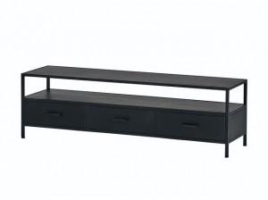 TV Lowbaord schwarz, Fernsehschrank Metall schwarz, TV Regal schwarz, Schrank schwarz Industriedesign,  Breite 150 cm