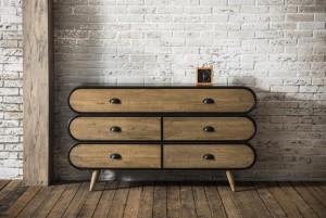 Sideboard Industriedesign, Anrichte Metall Holz, Kommode Industriedesign Breite 140 cm