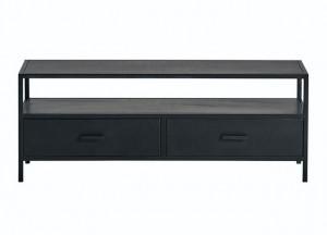 TV Lowbaord schwarz, Fernsehschrank Metall schwarz, TV Regal schwarz, Schrank schwarz Industriedesign,  Breite 120 cm