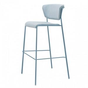 Barstuhl blau gepolstert, Barstuhl stapelbar Gold, Sitzhöhe 76 cm
