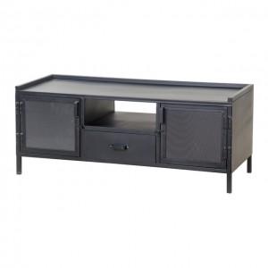 TV Schrank schwarz, Fernsehschrank schwarz Industriedesign, Metall Fernsehschrank, TV Lowboard schwarz, Breite 130 cm
