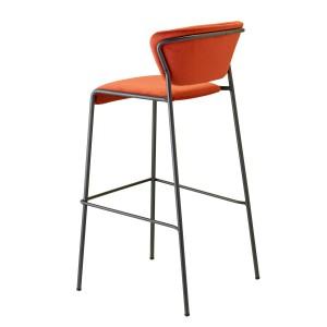 Barstuhl rot gepolstert, Barstuhl schwarz stapelbar, Sitzhöhe 76 cm